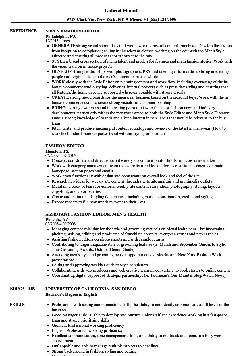 Download Fashion Editor Resume Sample As Image File