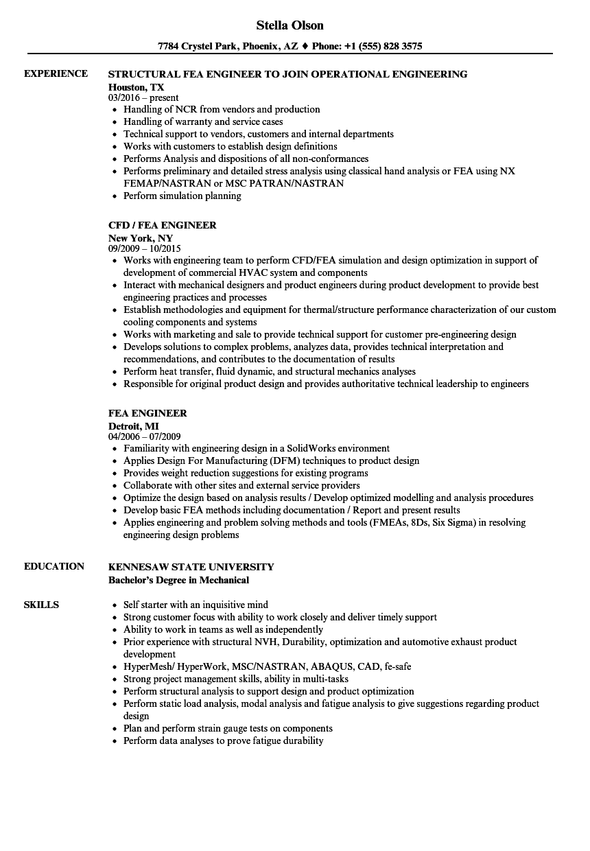 Fea Engineer Resume Samples Velvet Jobs