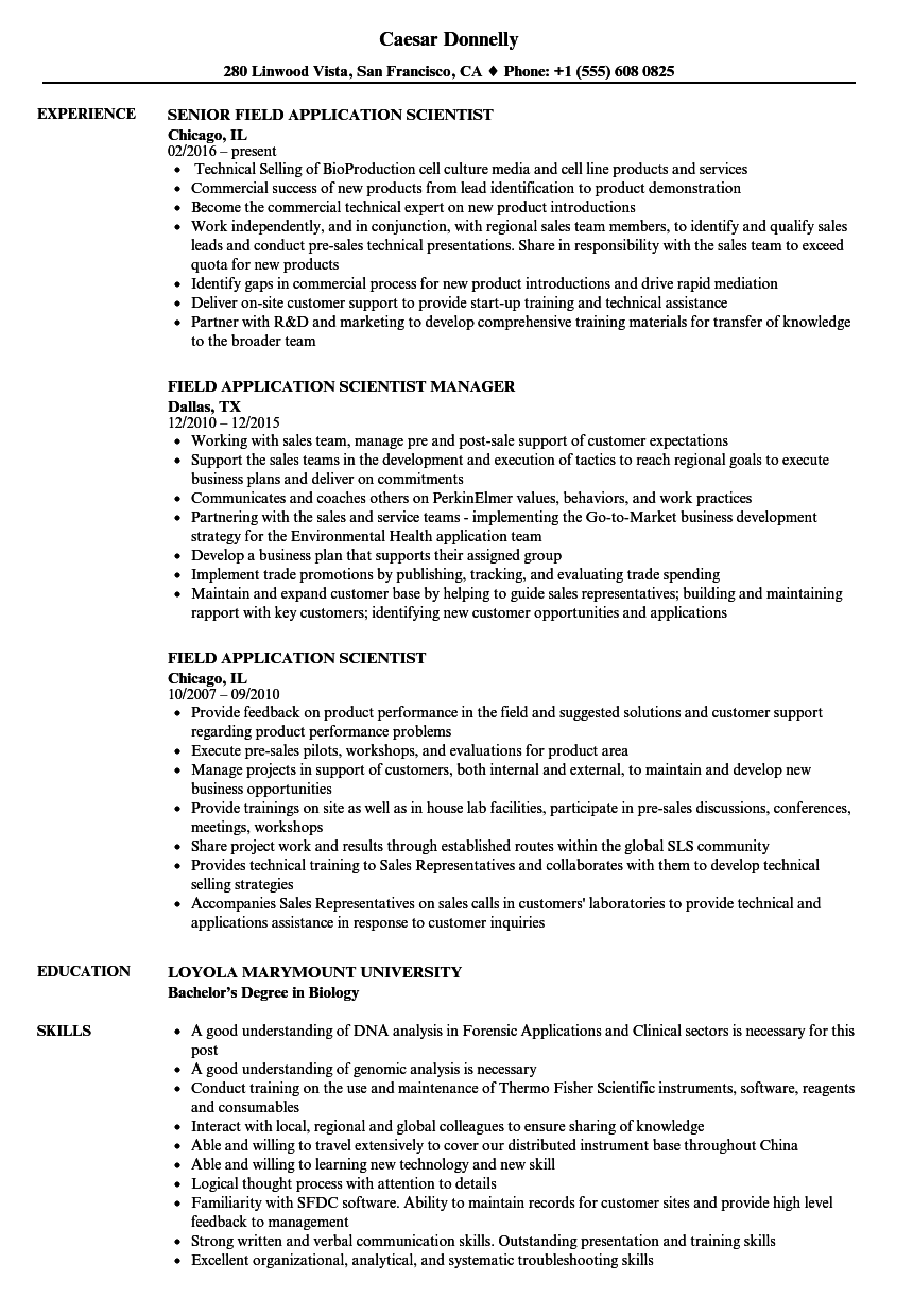 field application scientist resume samples velvet jobs