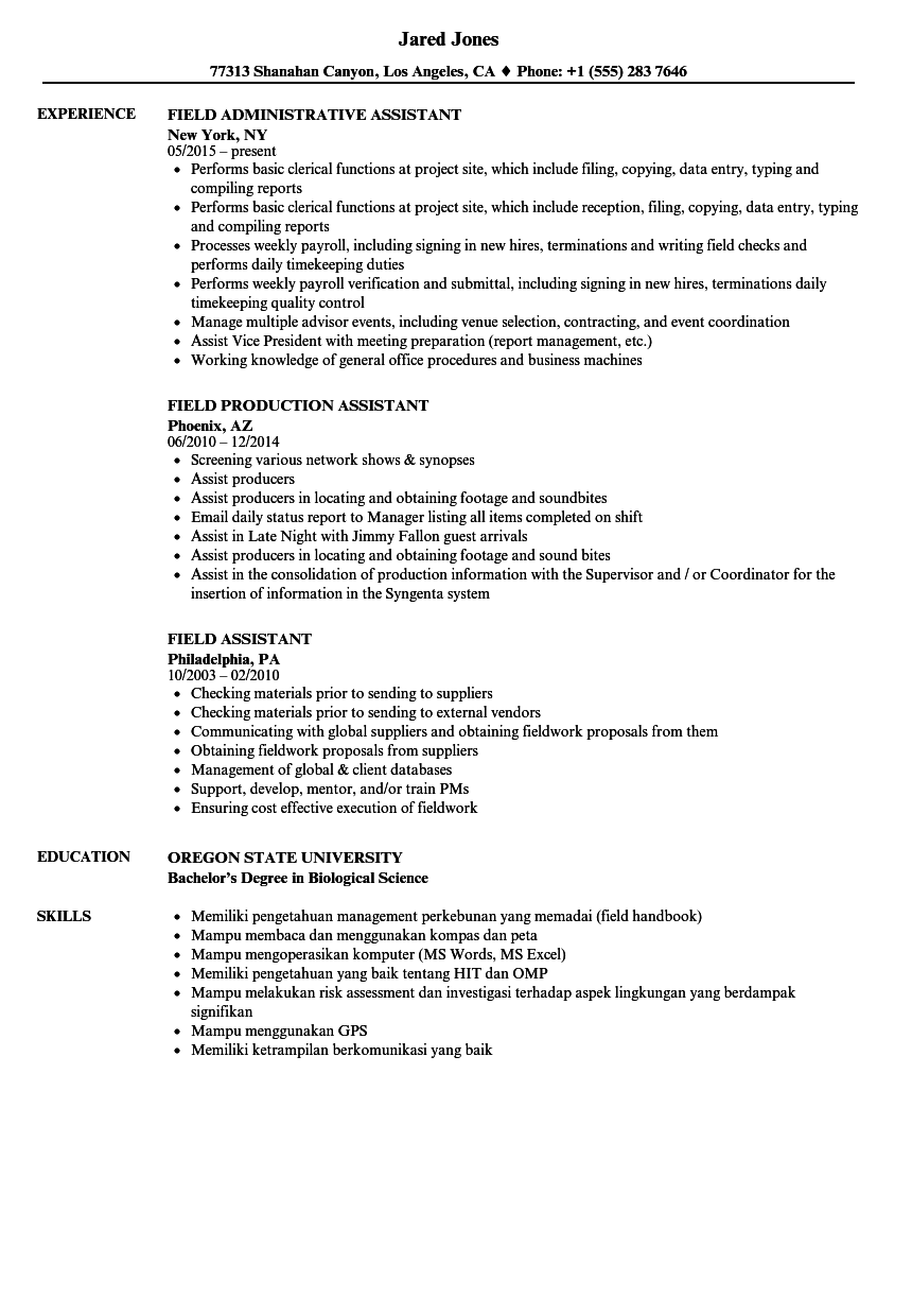 download field assistant resume sample as image file