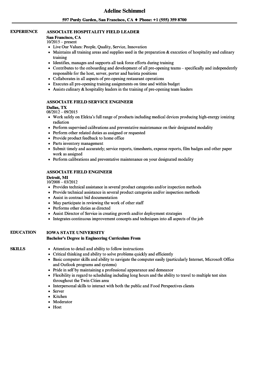 Field Associate Resume Samples | Velvet Jobs