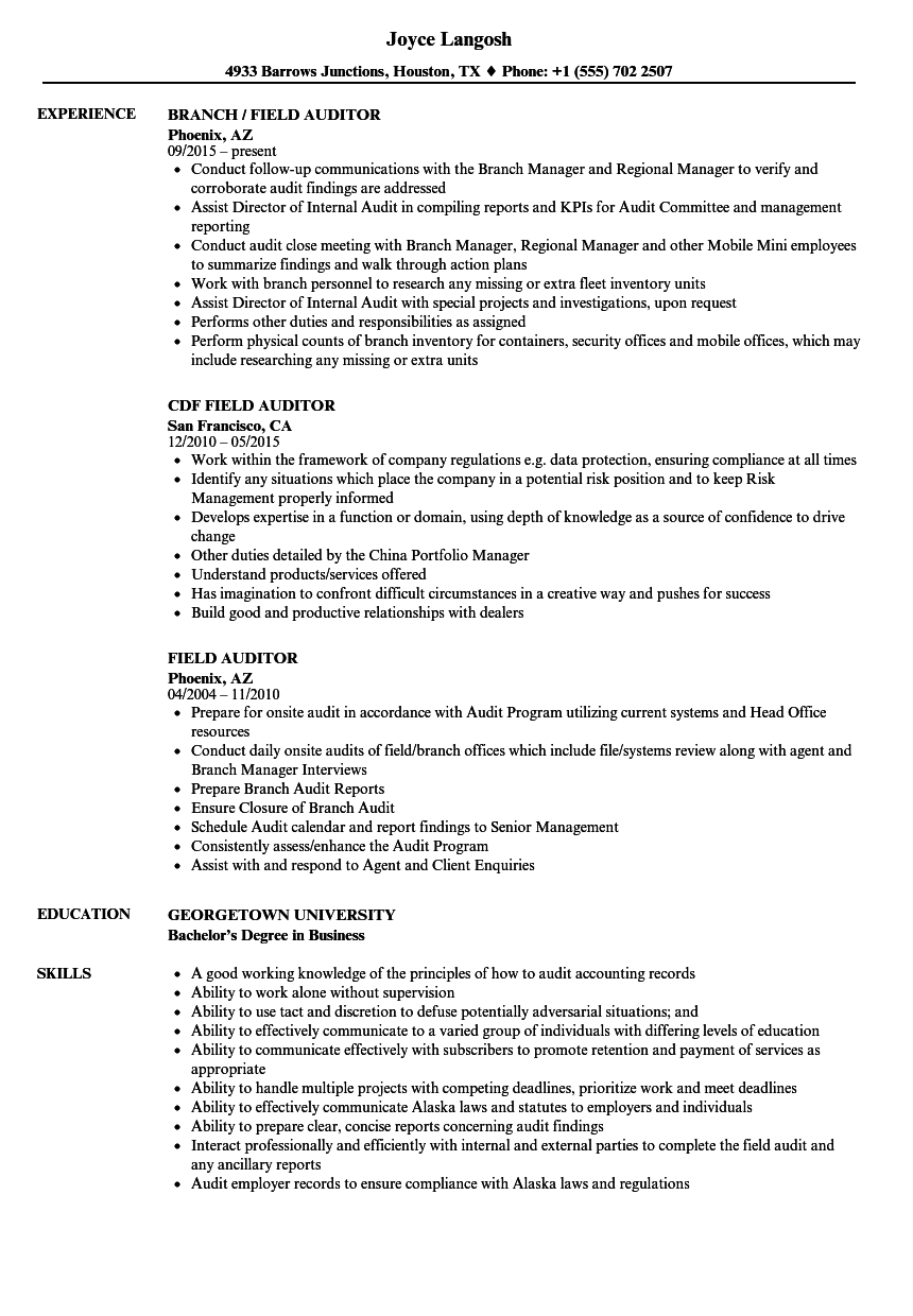 Field Auditor Resume Samples Velvet Jobs