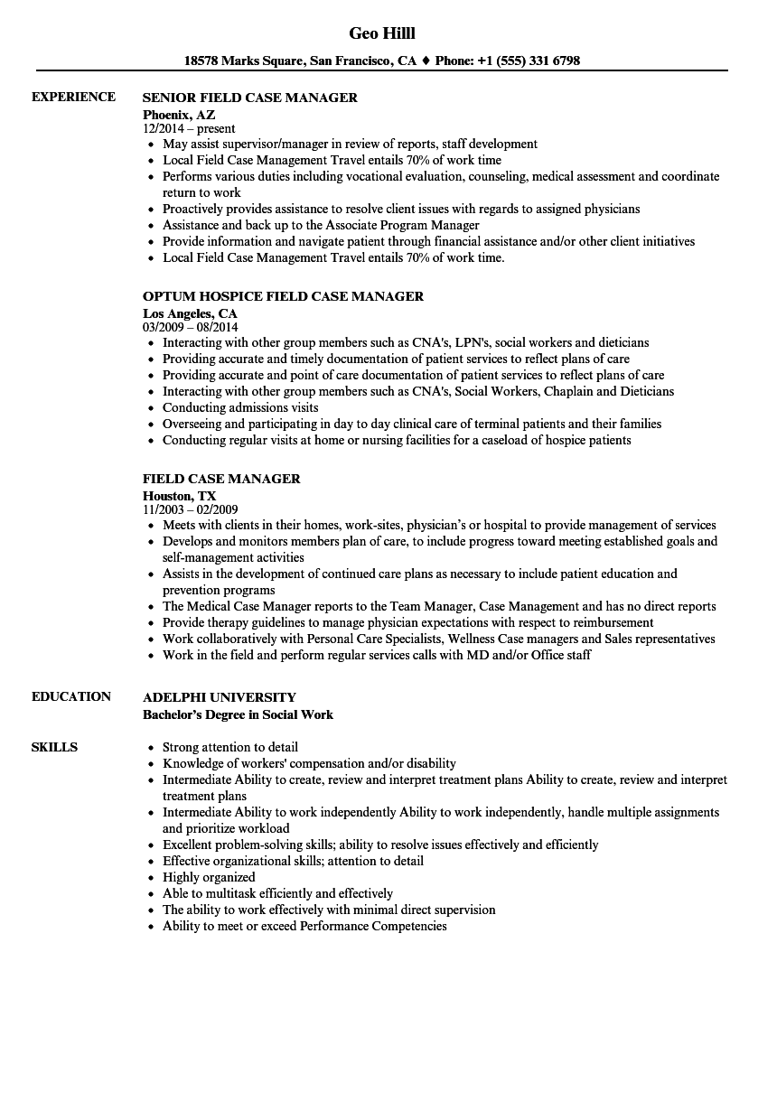 field case manager resume samples