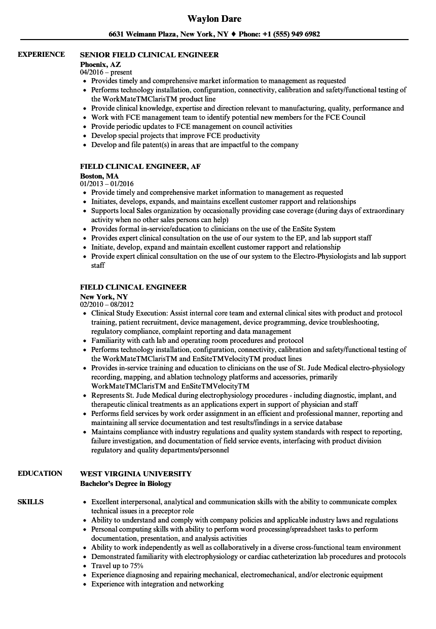 field clinical engineer resume samples