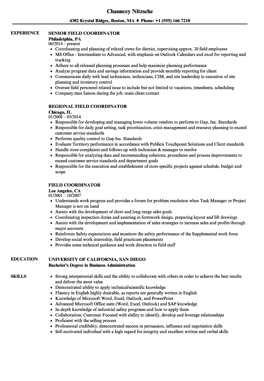 Field Coordinator Resume Samples | Velvet Jobs