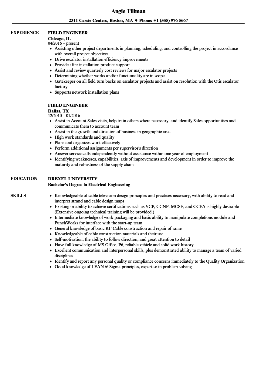 Field Engineer Resume Samples | Velvet Jobs
