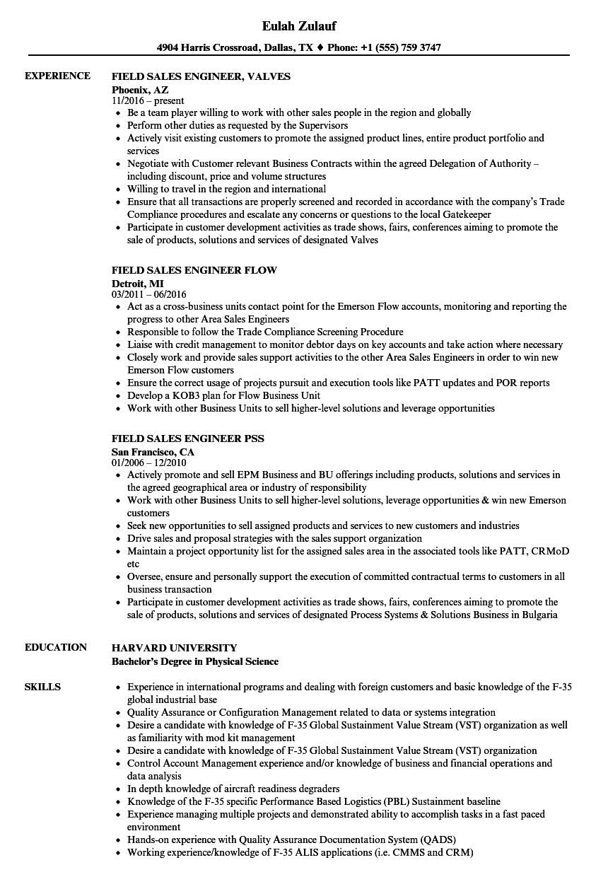 field engineer  u0026 sales resume samples