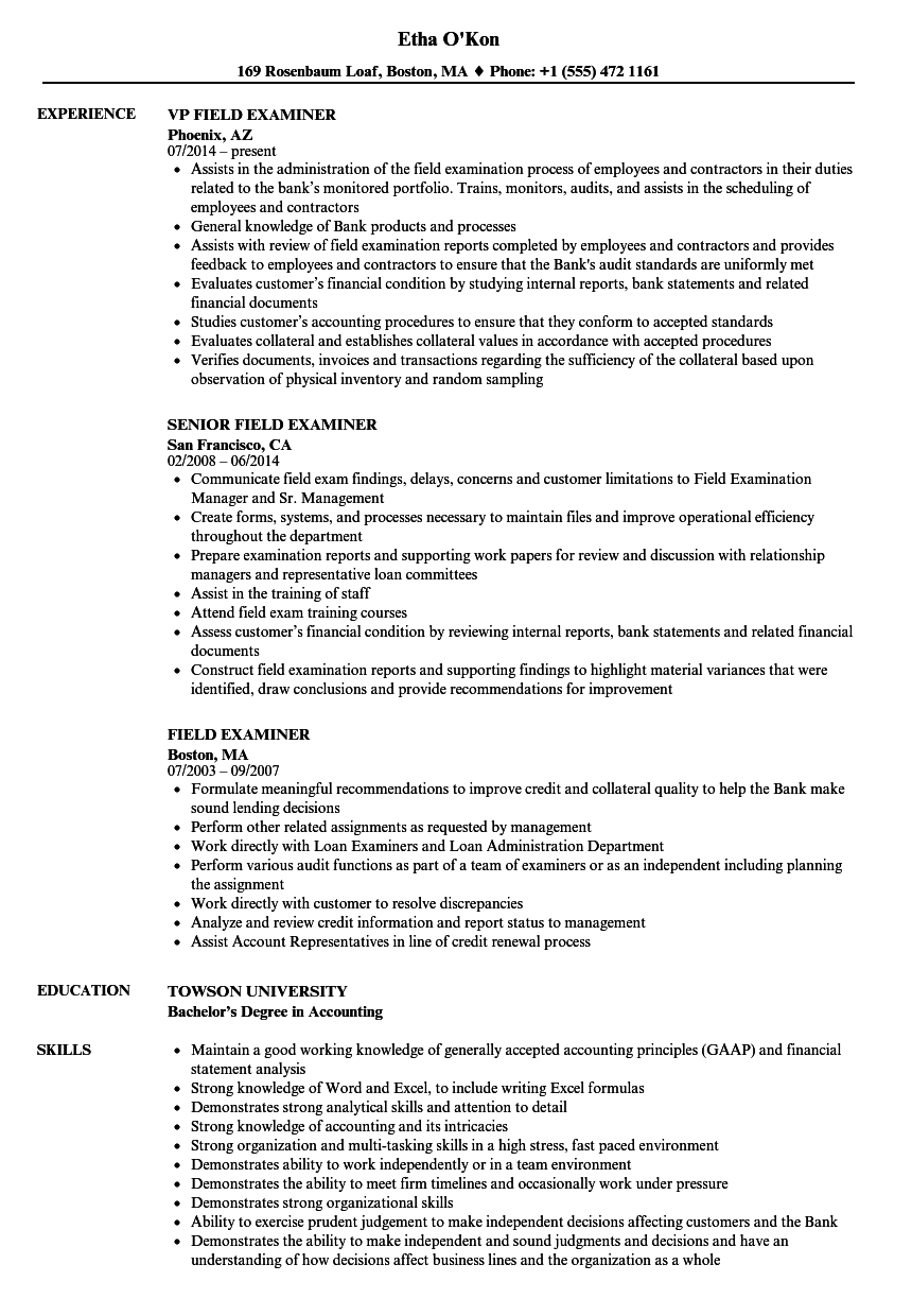 Field Examiner Resume Samples