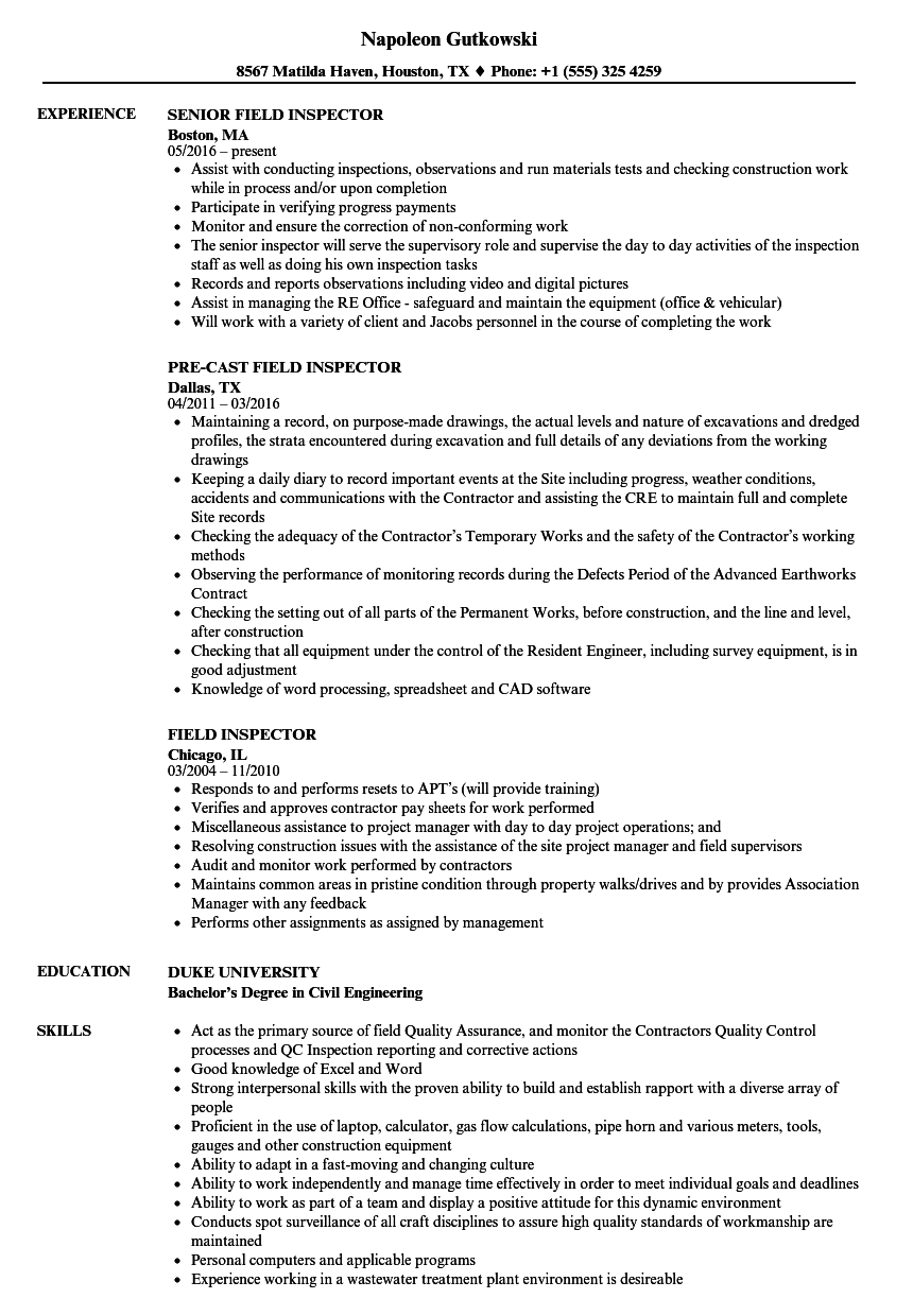 Field Inspector Resume Samples | Velvet Jobs