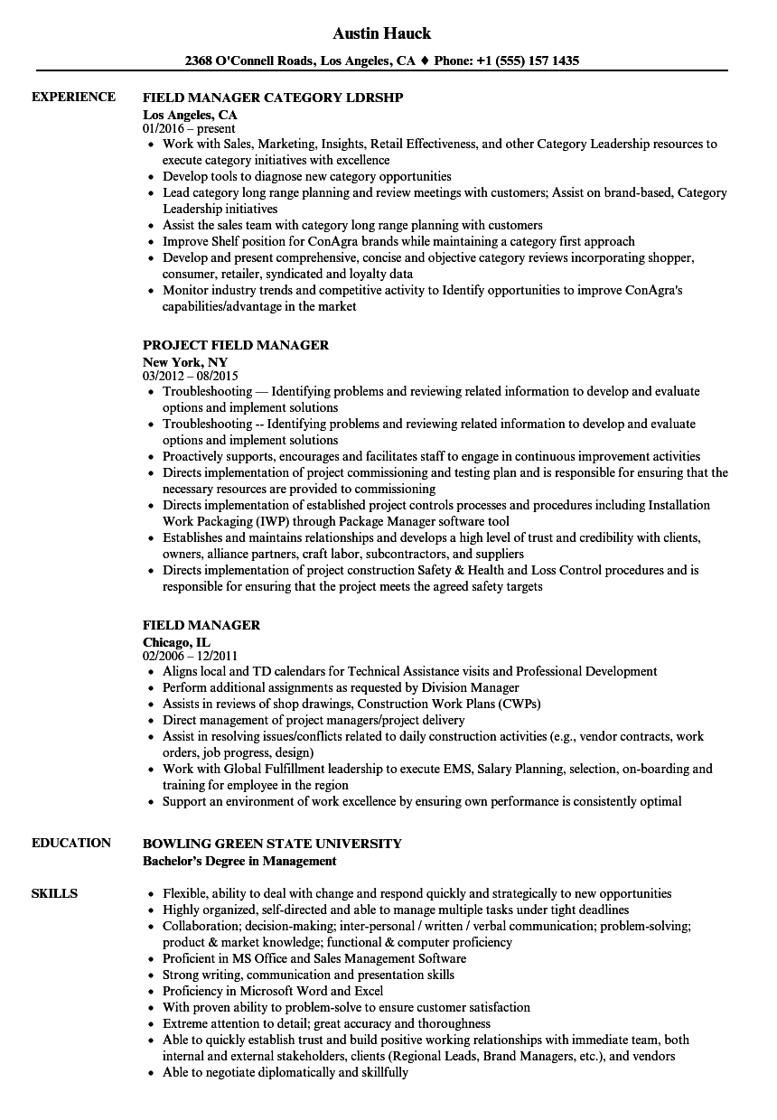 field manager resume samples