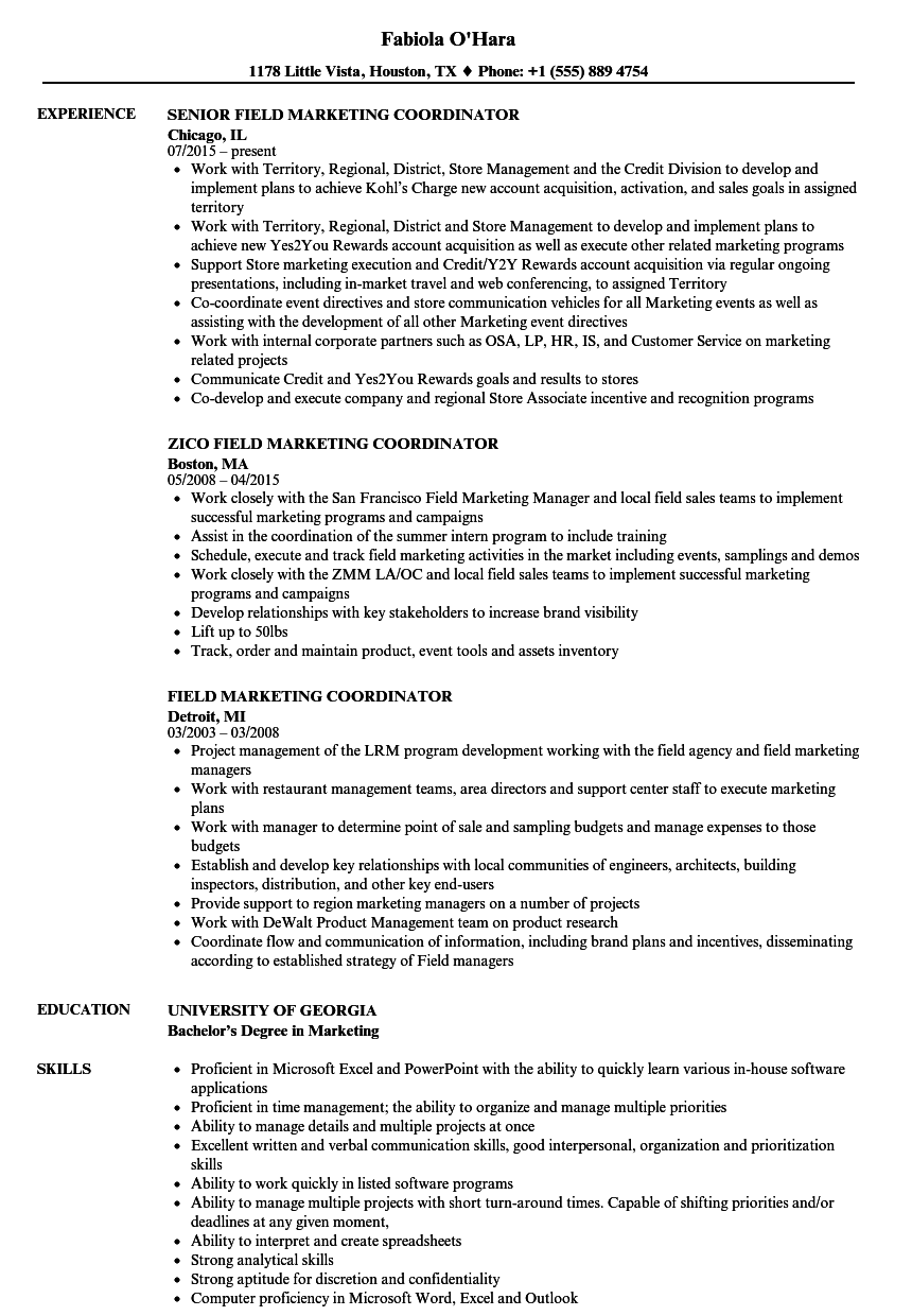 field marketing coordinator resume samples