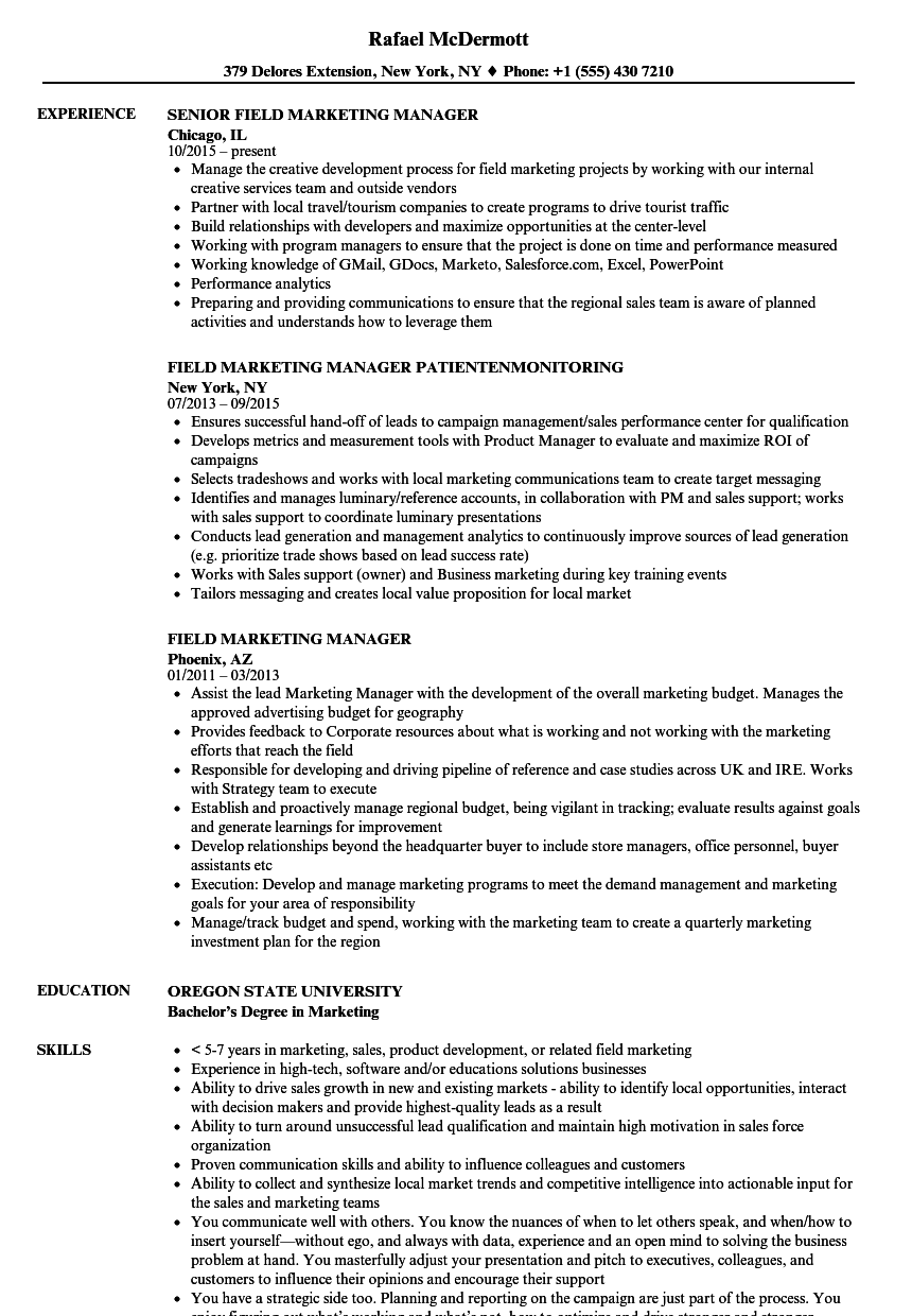 field marketing manager resume samples velvet jobs
