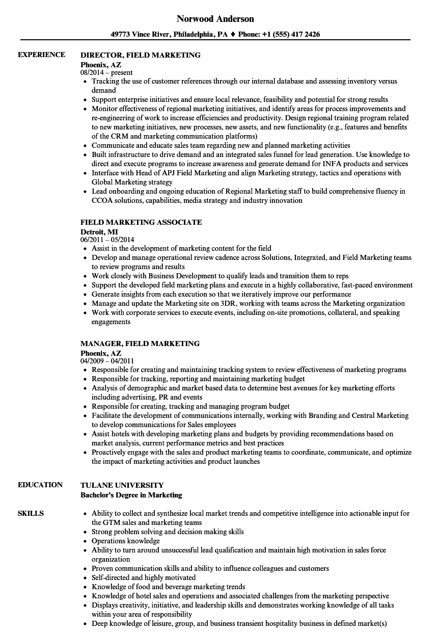 field marketing resume samples