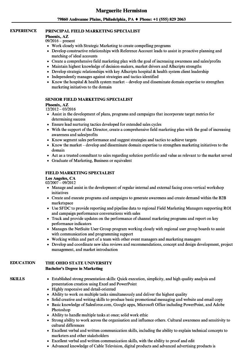 Field Marketing Specialist Resume Samples Velvet Jobs