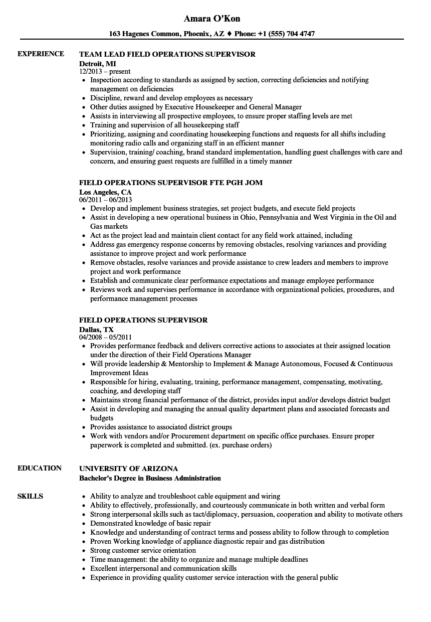 field operations supervisor resume samples velvet jobs