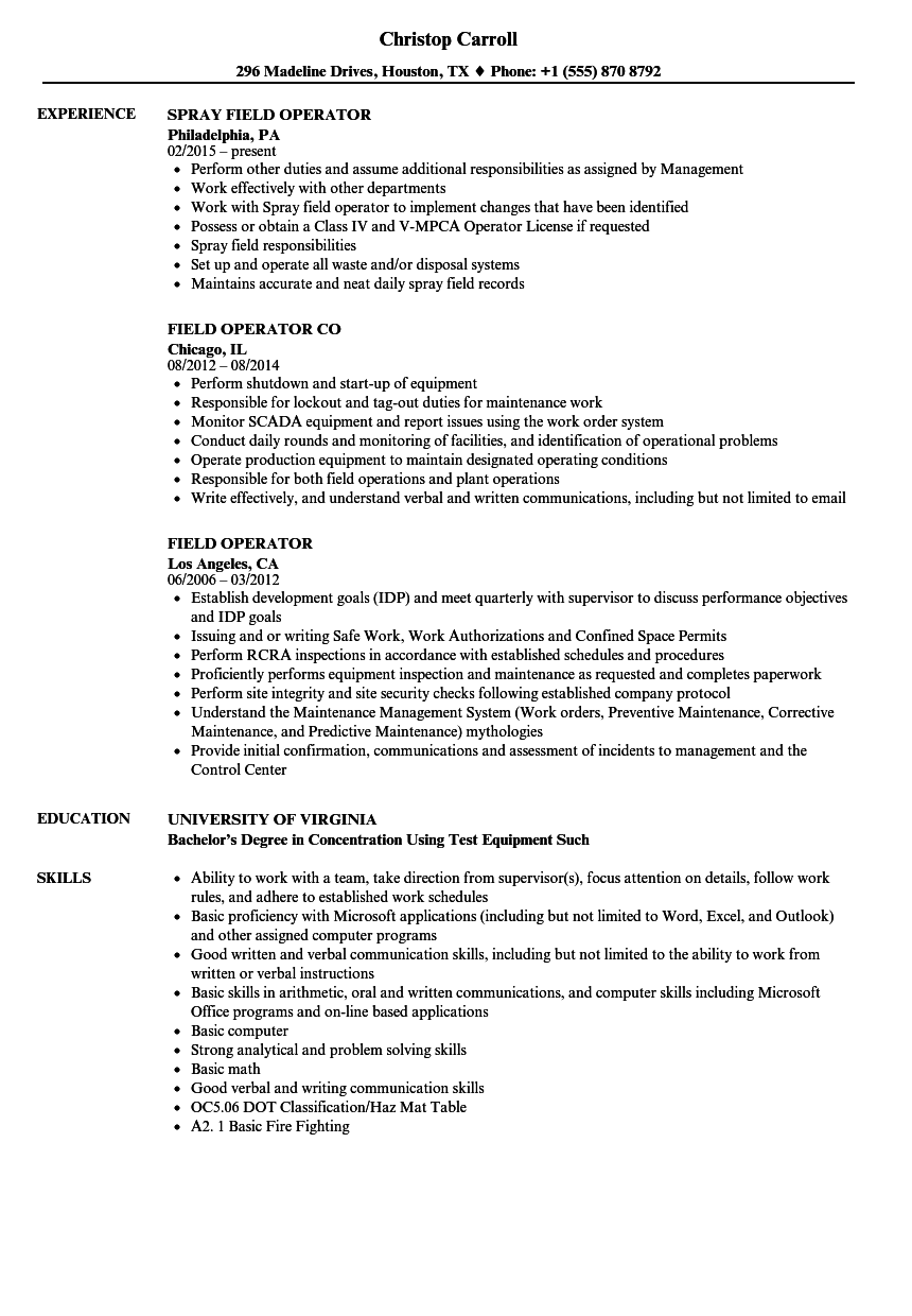 field operator resume samples