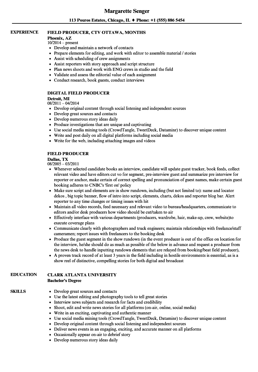 Field Producer Resume Samples | Velvet Jobs