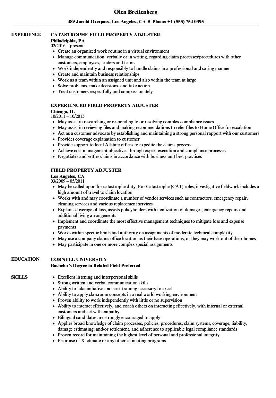 field property adjuster resume samples