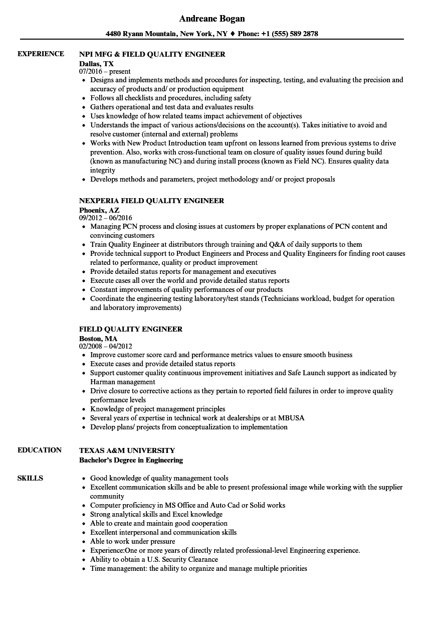 Field Quality Engineer Resume Samples | Velvet Jobs