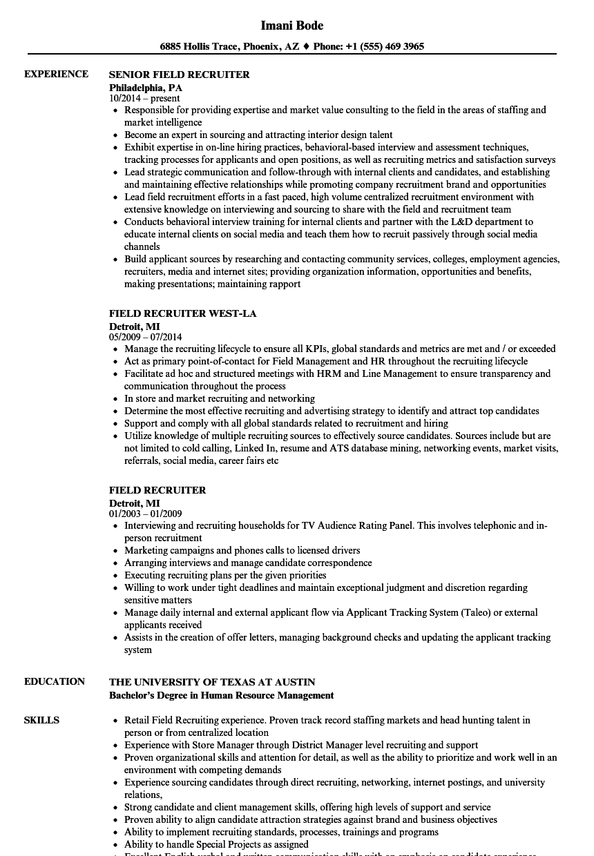 Field Recruiter Resume Samples | Velvet Jobs