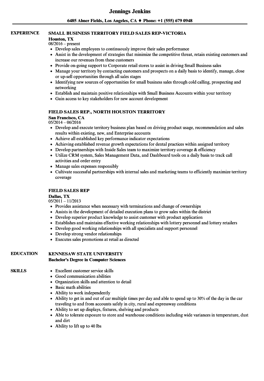field sales rep resume samples