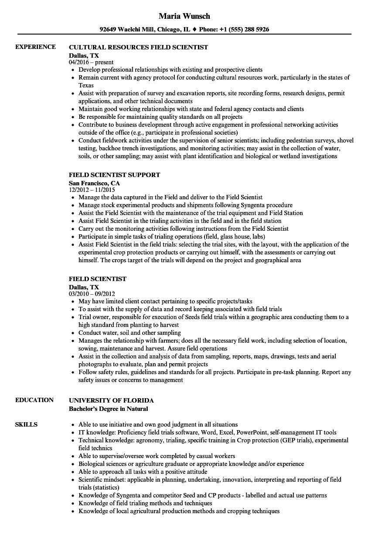 sample resume for agriculture graduates - field scientist resume samples velvet jobs