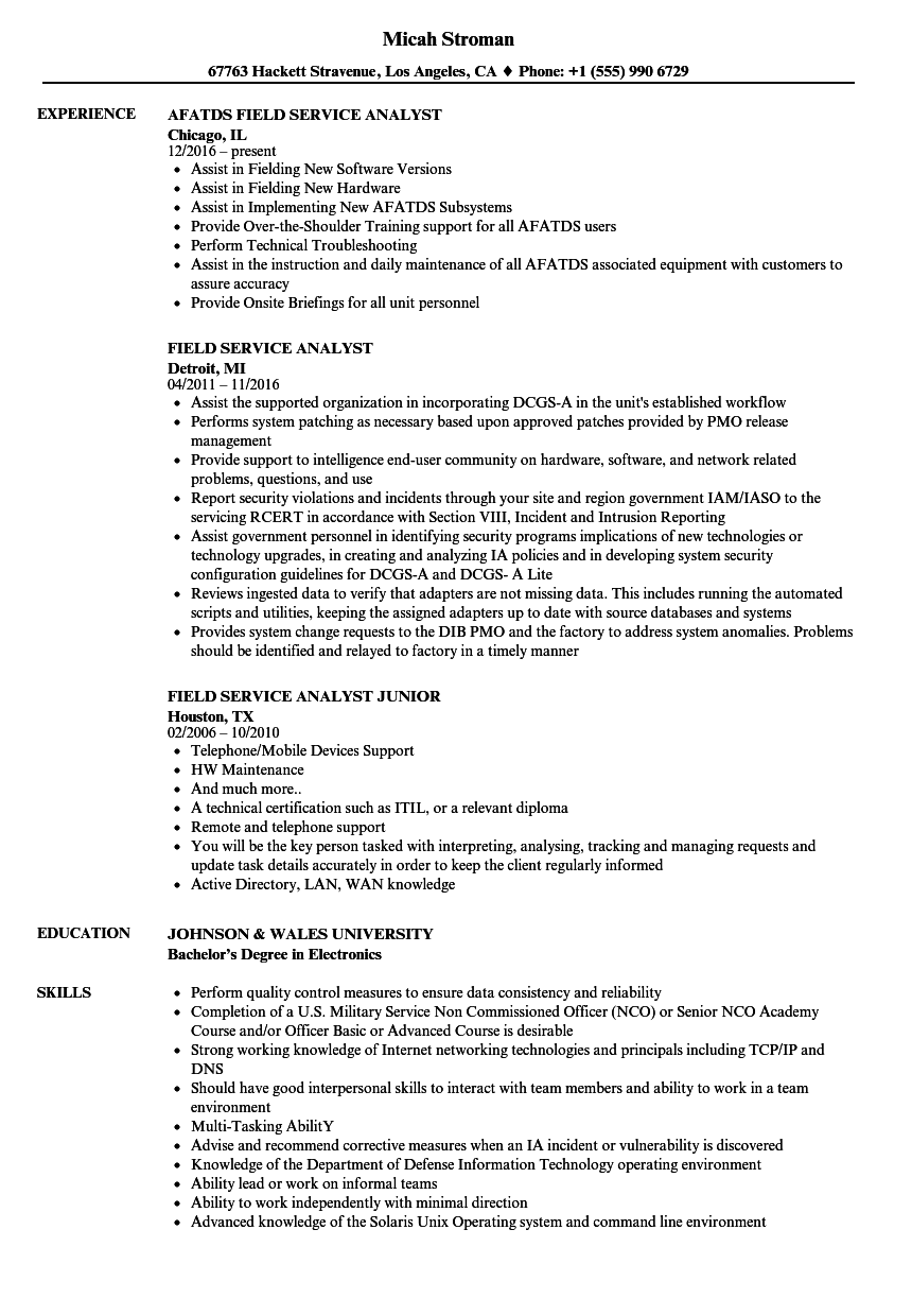 field service analyst resume samples