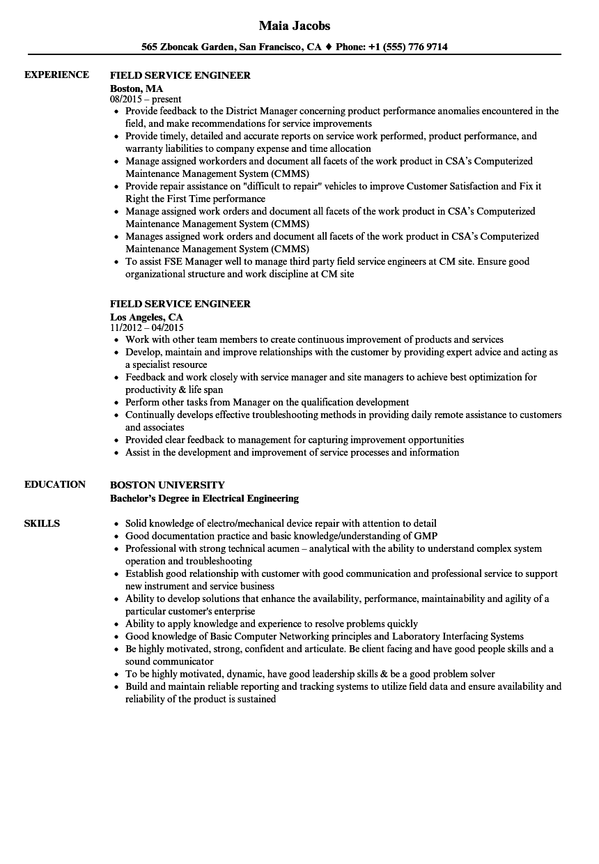 Field Service Engineer Resume Samples | Velvet Jobs