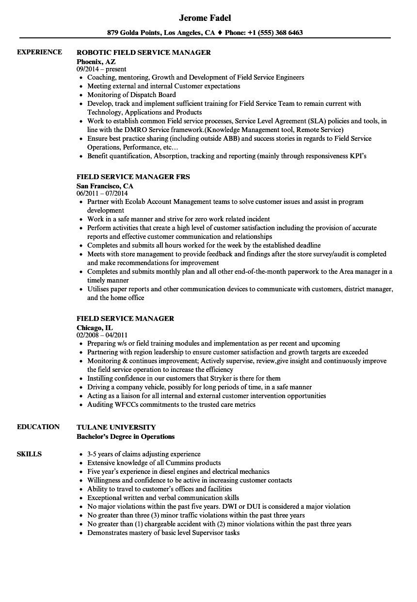 field service manager resume samples