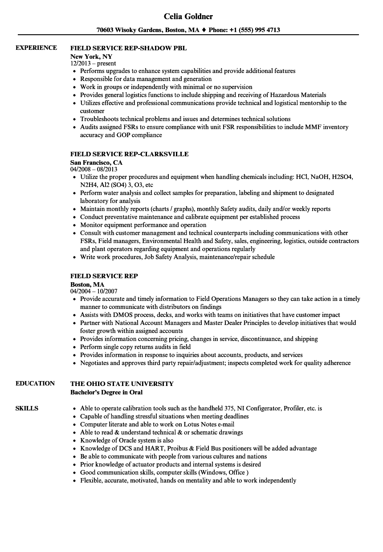 field service rep resume samples