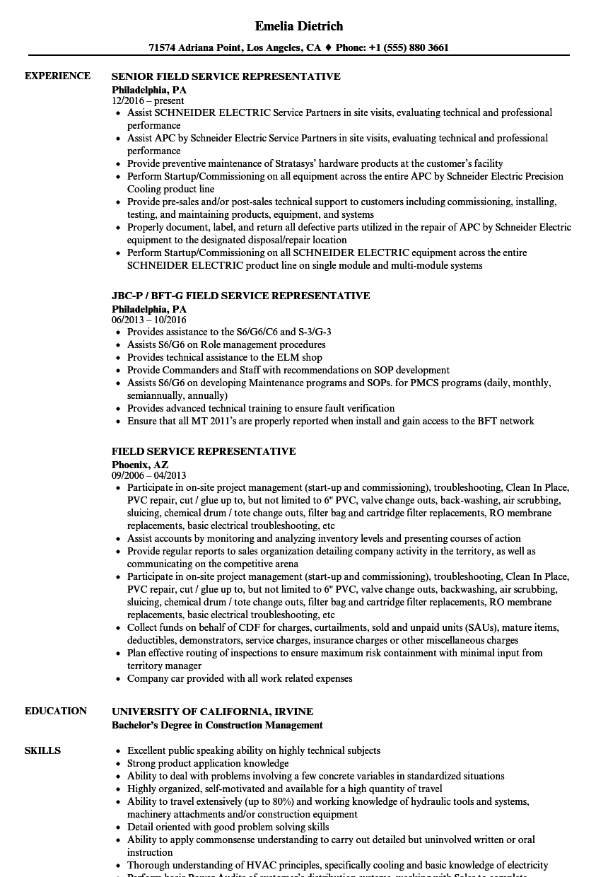field service representative resume samples