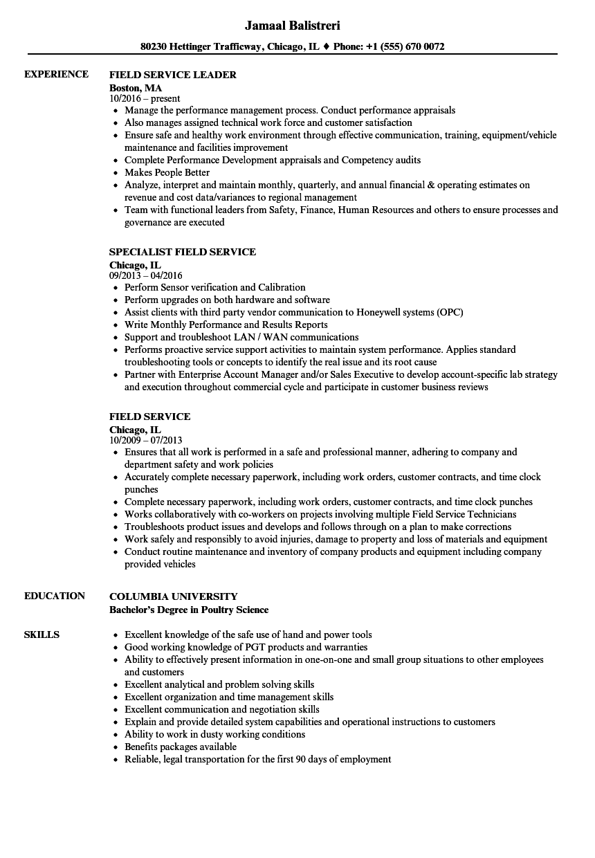 Field Service Resume Samples | Velvet Jobs