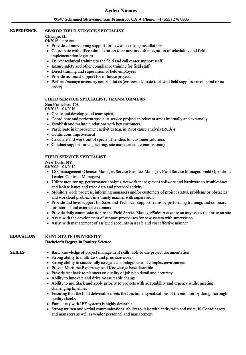 field service specialist resume samples