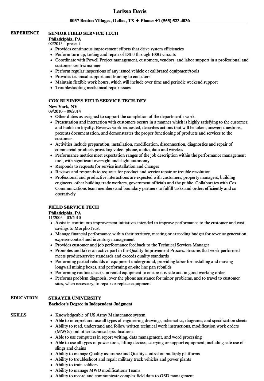 field service tech resume samples