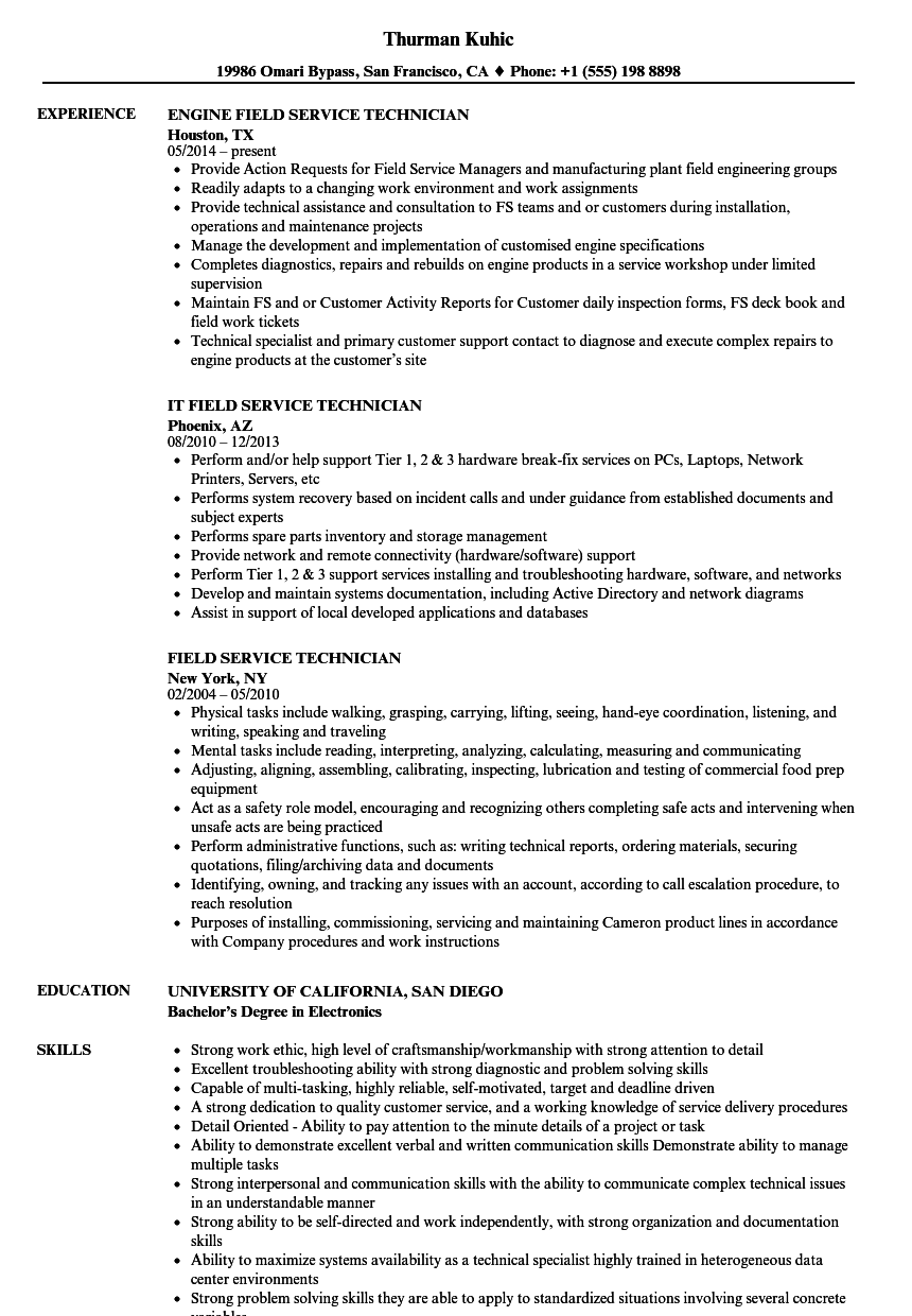 Field Service Technician Resume Samples | Velvet Jobs