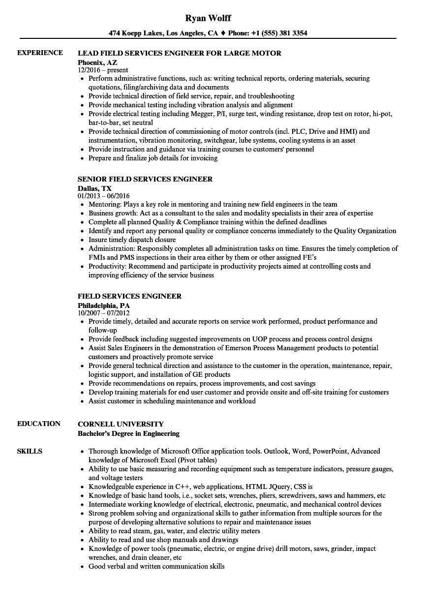 Field Services Engineer Resume Samples Velvet Jobs