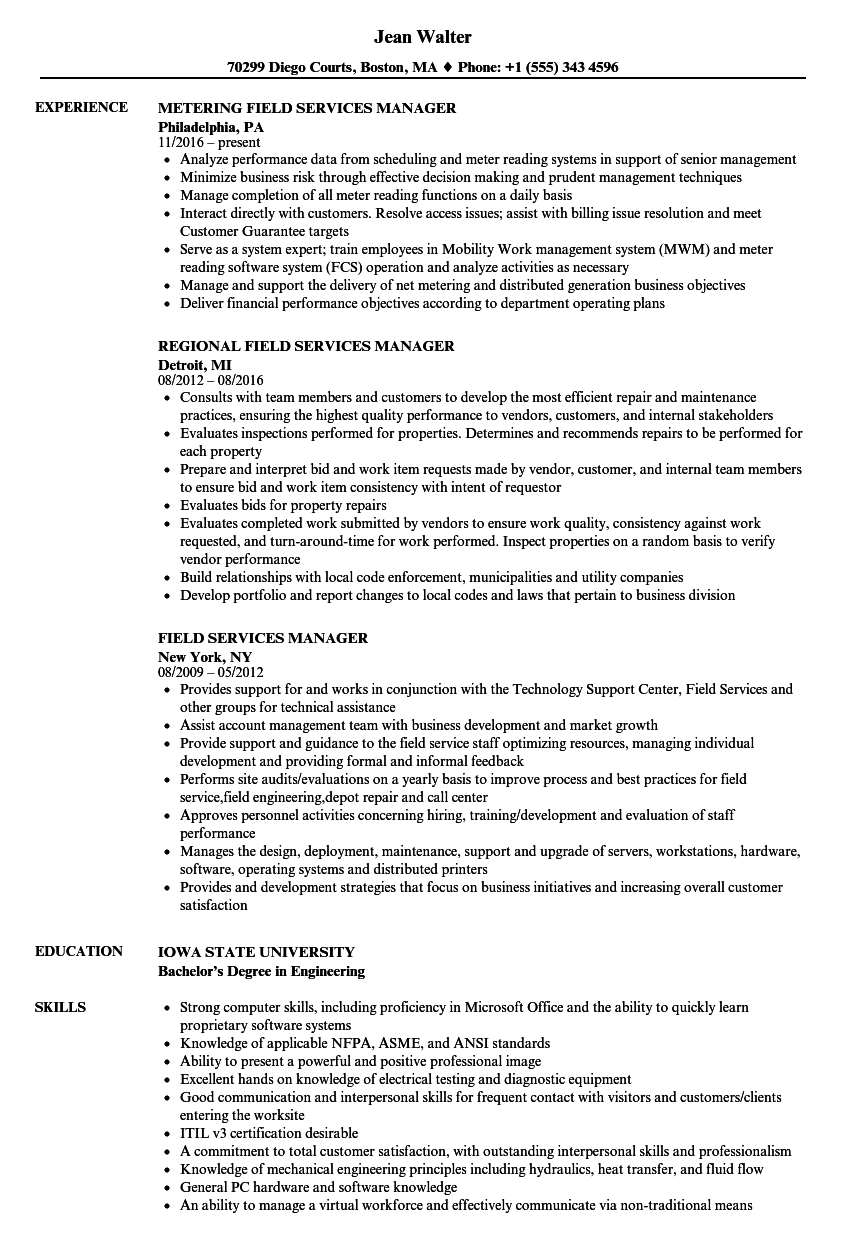 field services manager resume samples