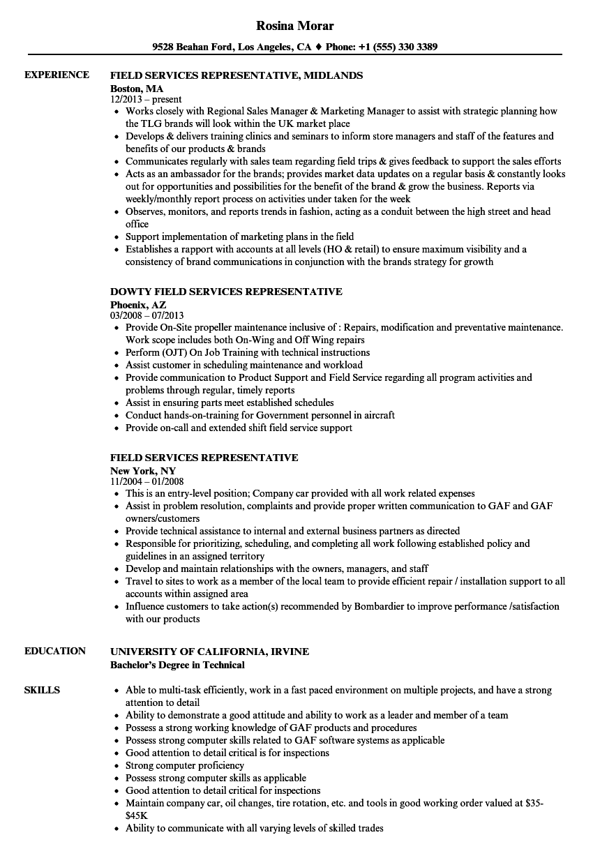 field services representative resume samples