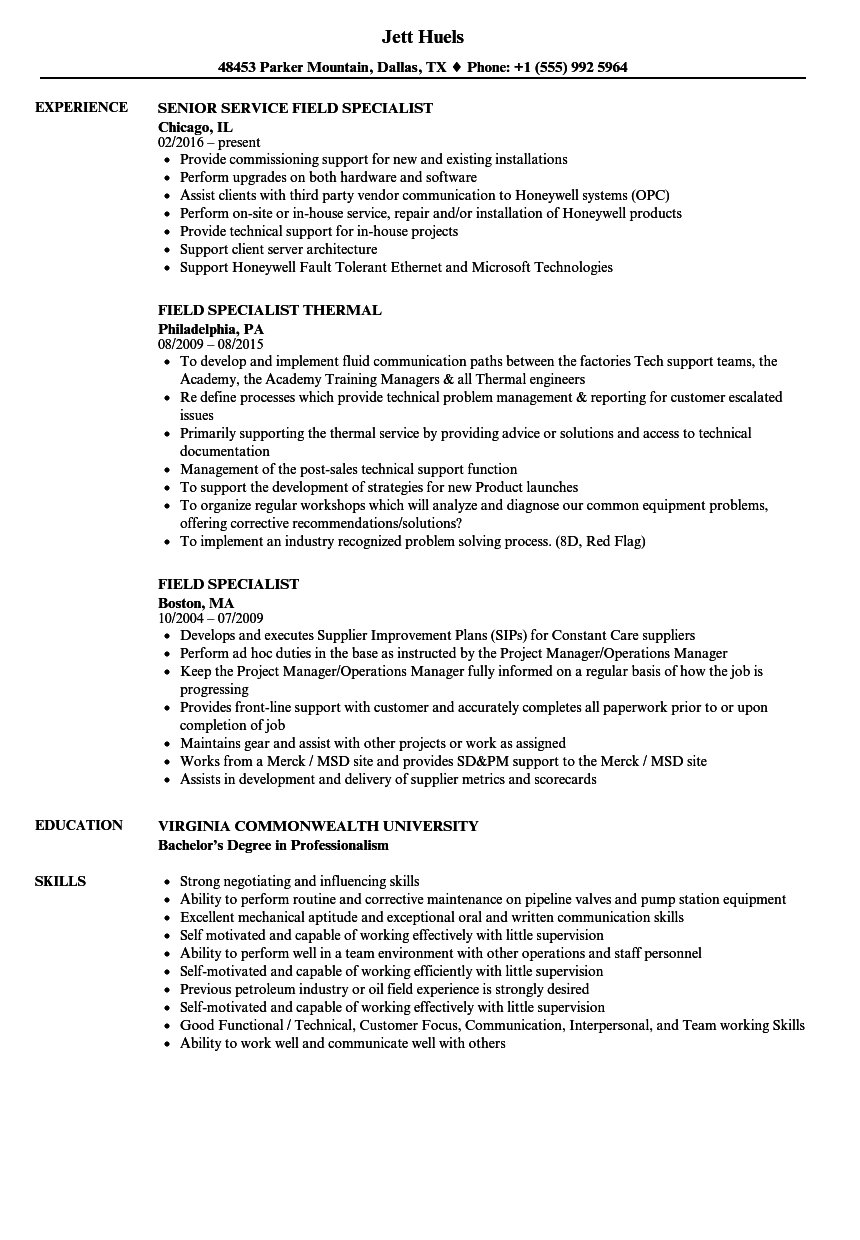Field Specialist Resume Samples | Velvet Jobs