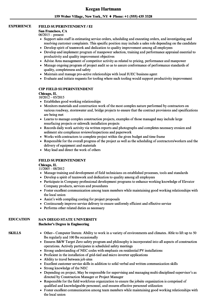 field superintendent resume samples