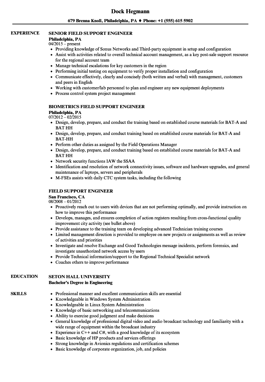 field support engineer resume samples
