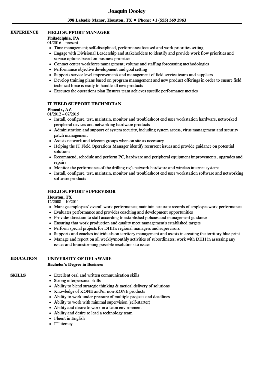 Field Support Resume Samples | Velvet Jobs
