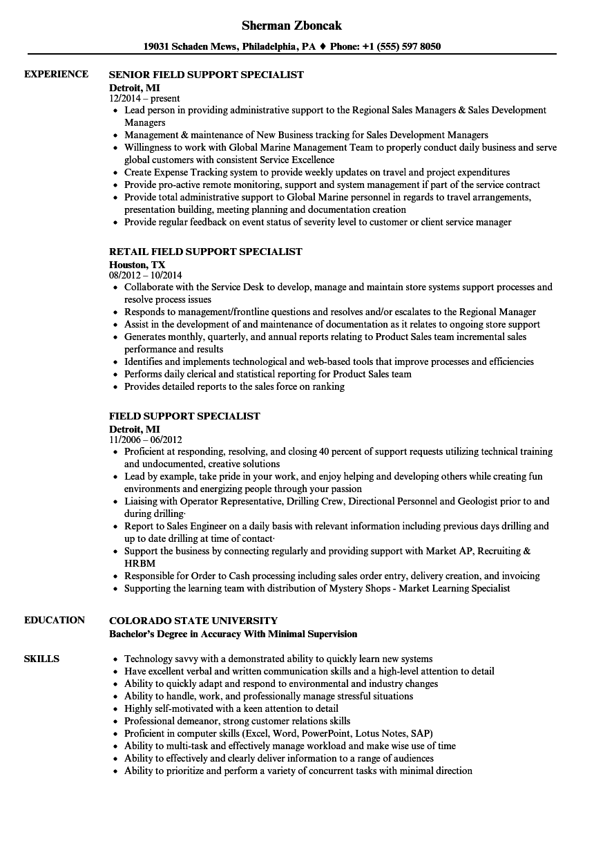 Field Support Specialist Resume Samples | Velvet Jobs
