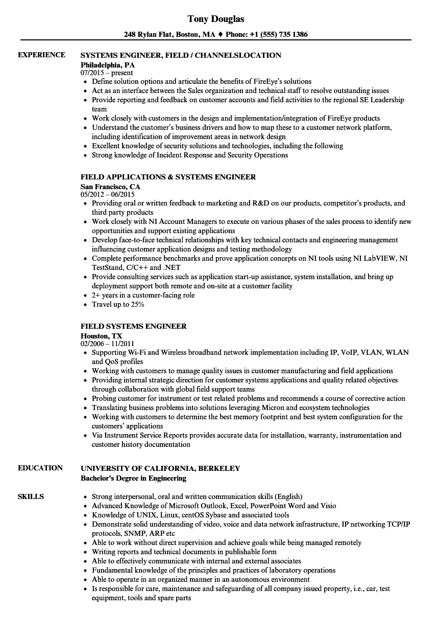 Field Systems Engineer Resume Samples Velvet Jobs