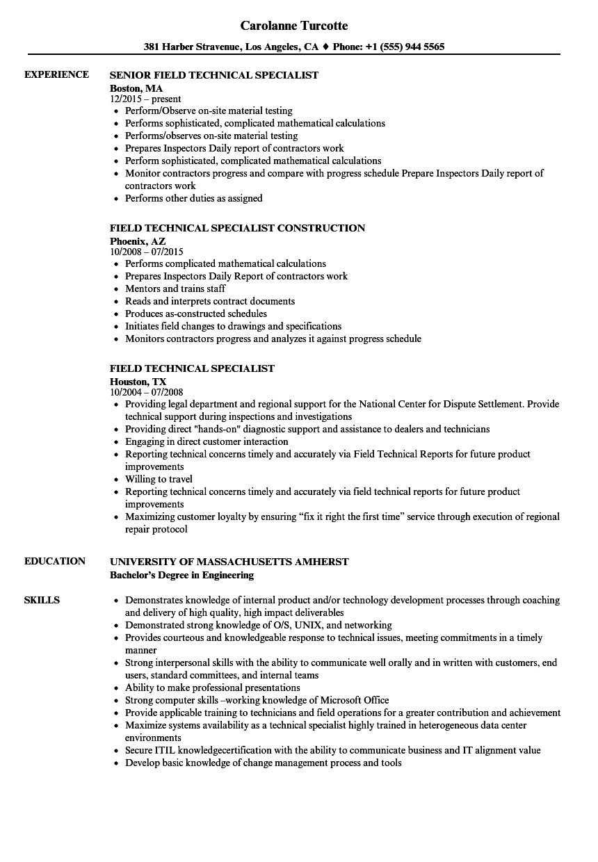 Field Technical Specialist Resume Samples Velvet Jobs