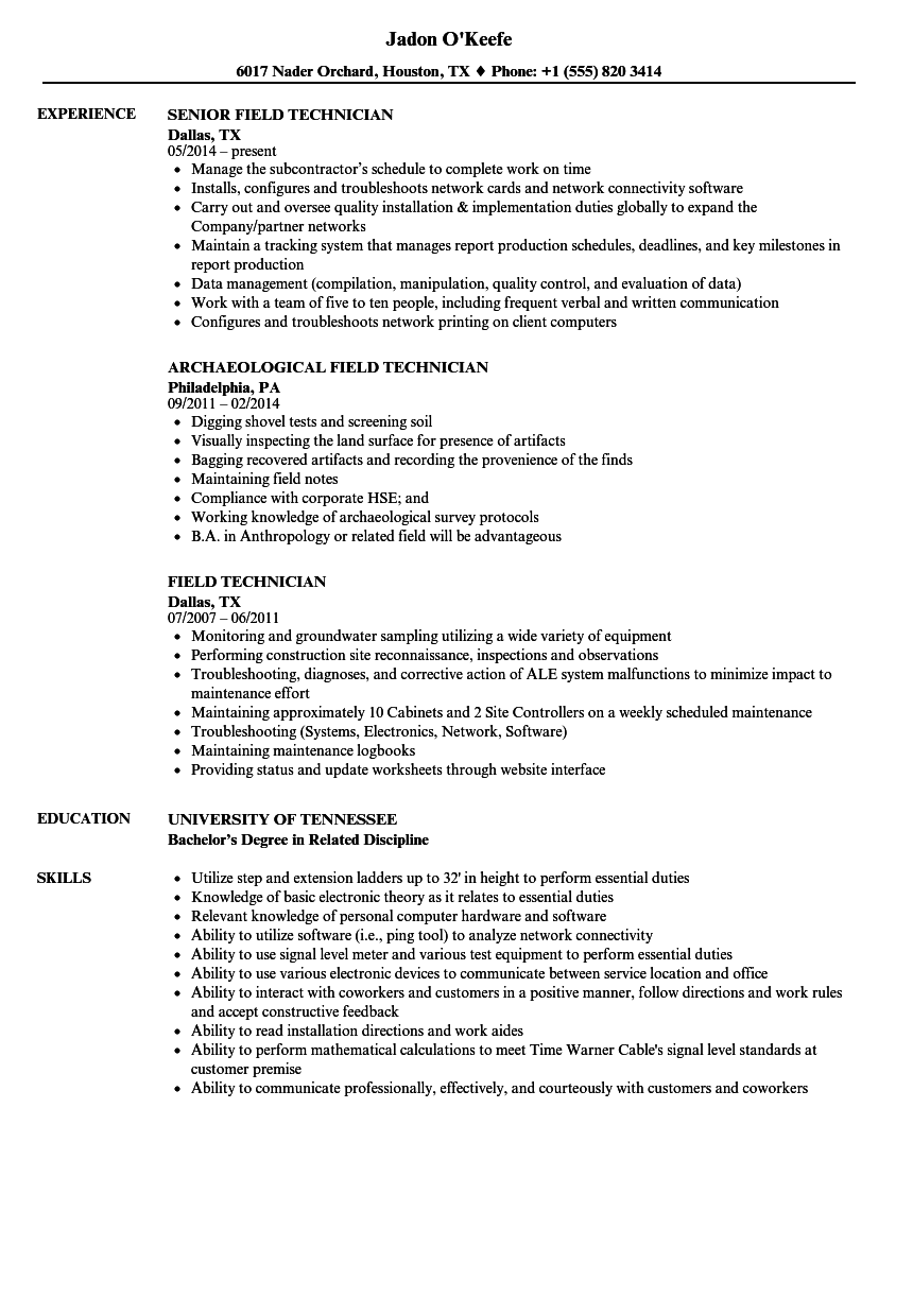 Field Technician Resume Samples | Velvet Jobs