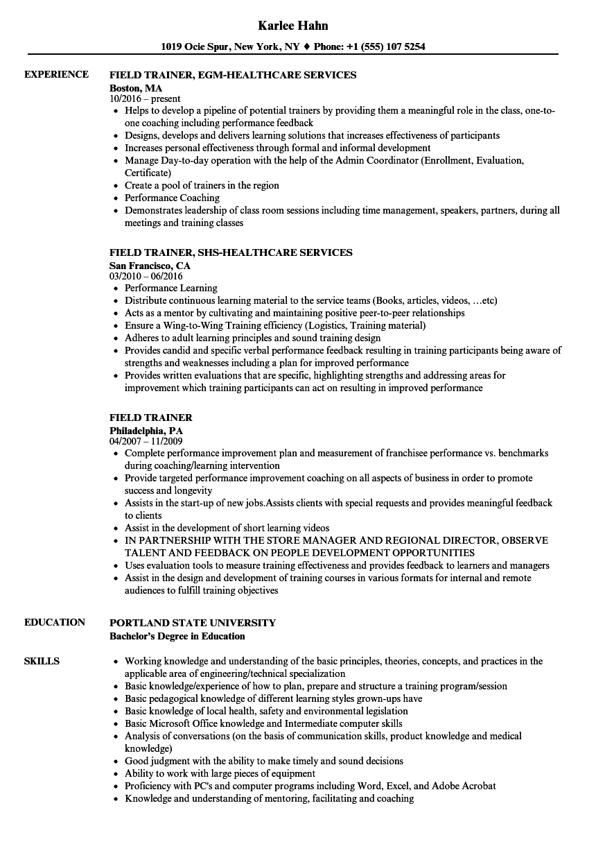 field trainer resume samples