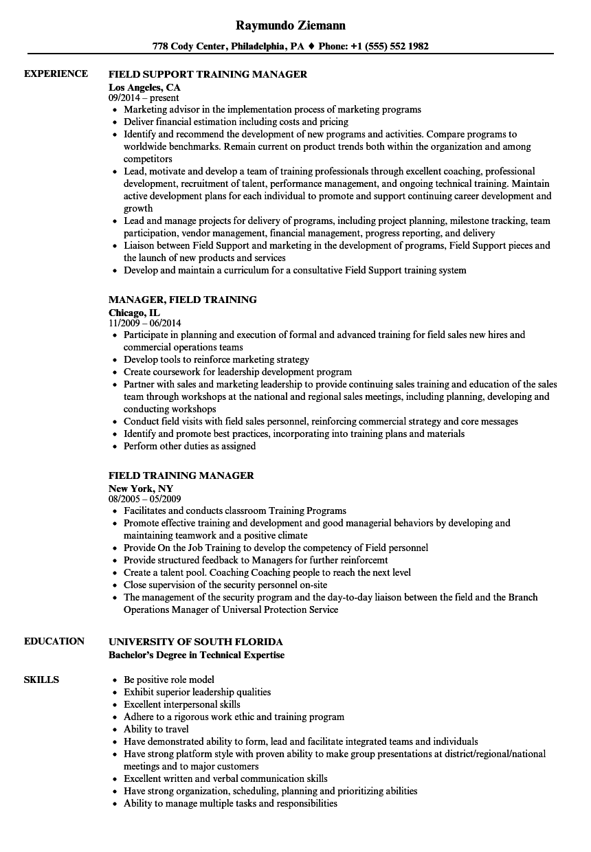 field training manager resume samples