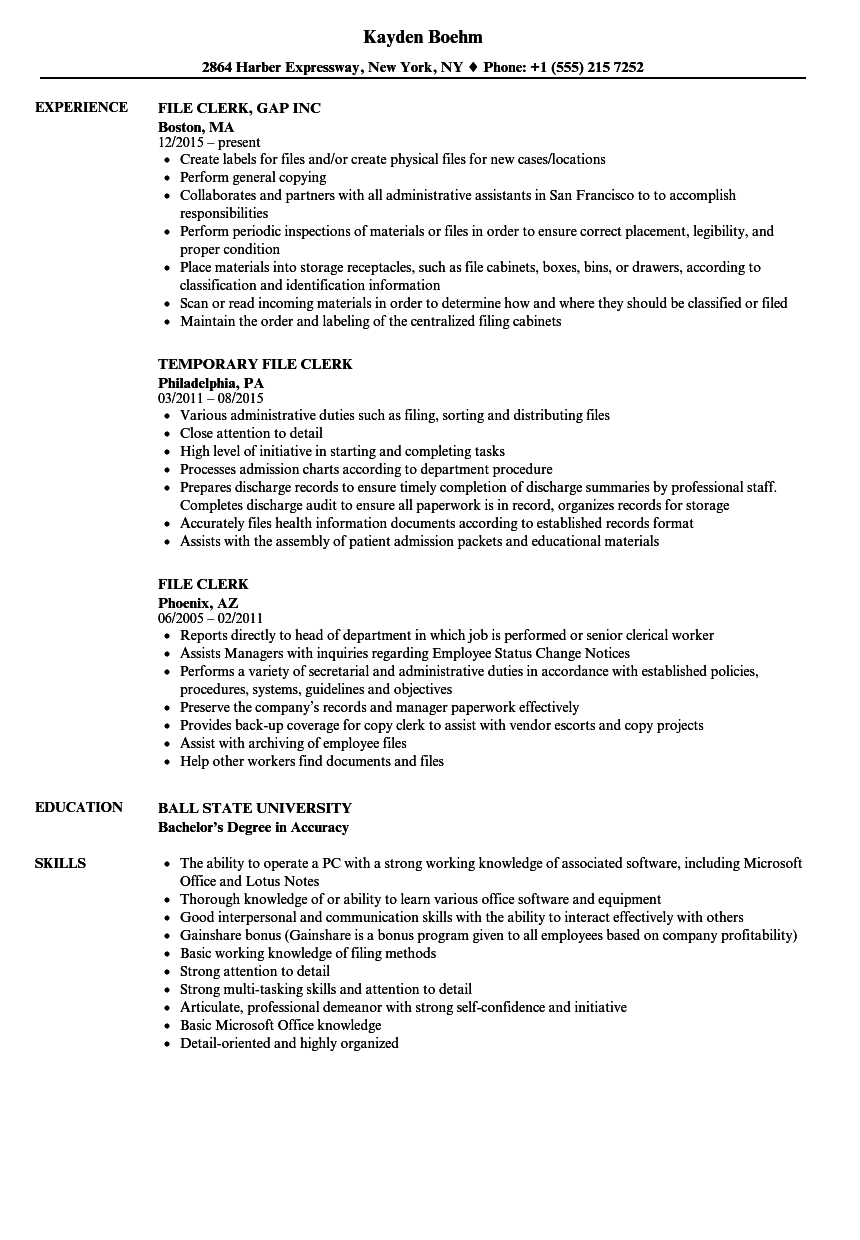 download file clerk resume sample as image file - File Clerk Resume Sample