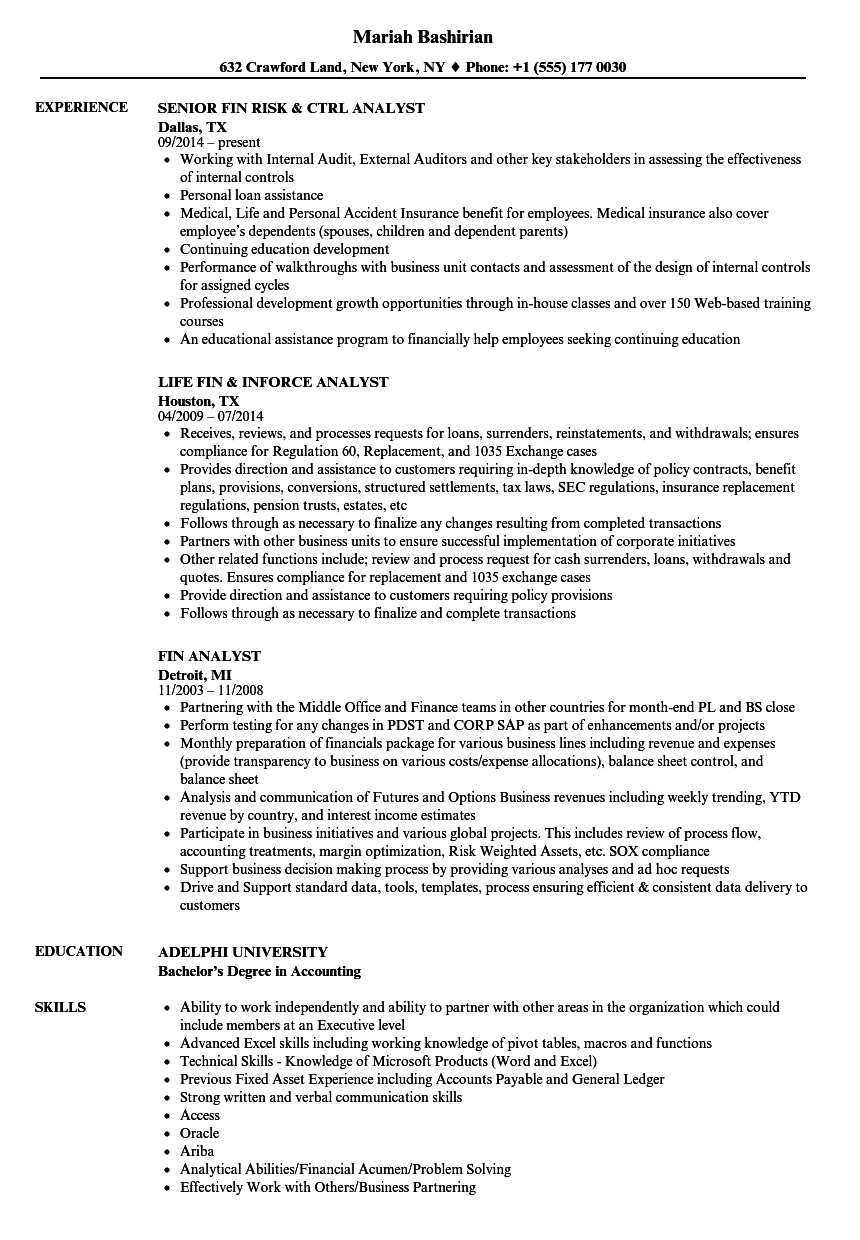 fin analyst resume samples